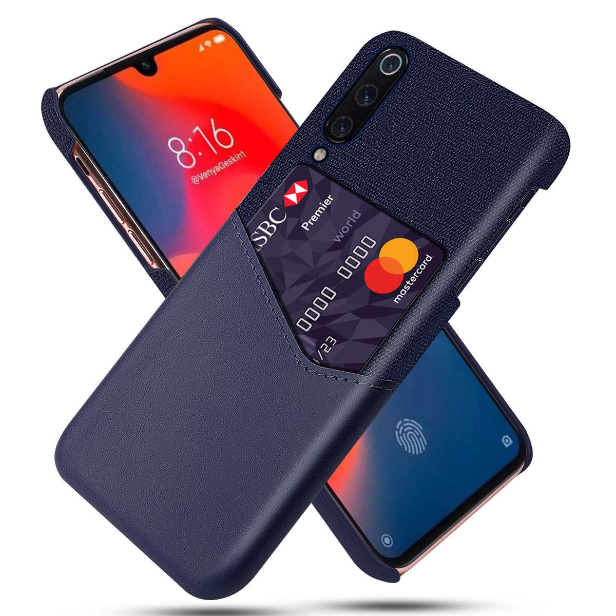 Voor Xiaomi Mi 9 Mi 9 Se Case Pu Leather Card Slot Stof Doek Splicing Slim Pc Hard Cover Voor xiaomi Mi9 Lite Mi 9T Mi A3 Case