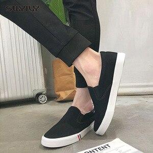 Image 4 - Swyivy 2018 Voorjaar Nieuwe Mannen Canvas Schoen Vulcaniseer Sneakers Platte Witte Schoenen Voor Mannen/Vrouwelijke Zwarte Sneakers 35 44 Size Slip Op