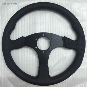 Black 350mm 14 Inch Race Drift Car Leather Stitching Leather Flat Steering Wheel Racing For O-MP Drifting for Rally/Drift/Race