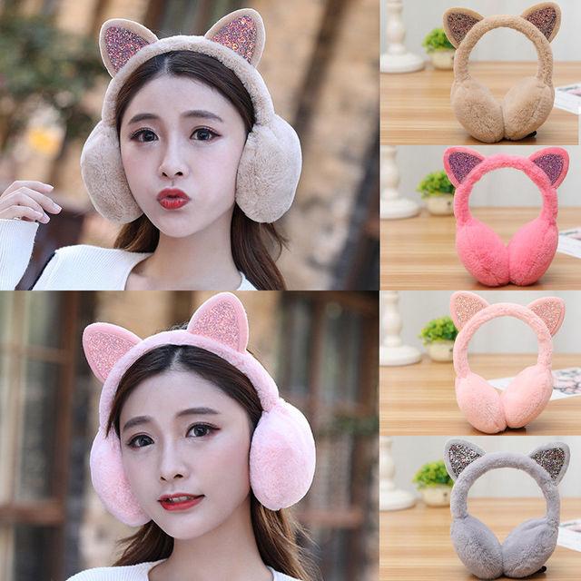 Fur Glitter Sequin Cat Ear Muffs