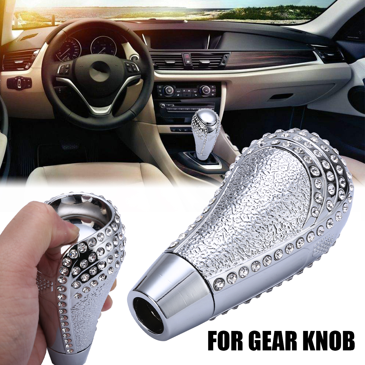 Car Interior Replacment Universal Bling Rhinestone Crystal Manual/Automatic Gear Shift Knob Shifter New Arrival