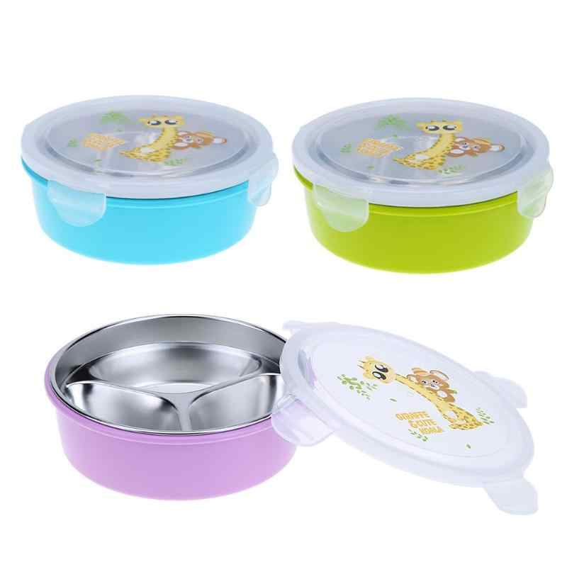 3 Grid Stainless Steel Round Insulation Children Lunch Box Container Food Holder(S) food container kitchen accessories keep heat