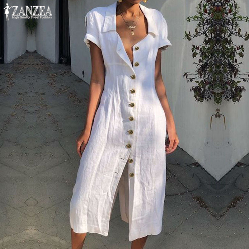 Summer Shirt Dress ZANZEA Vintage Split Sundress 2019 Women Solid Lapel Short Sleeve Cotton Linen Party Long Vestido Robe Female