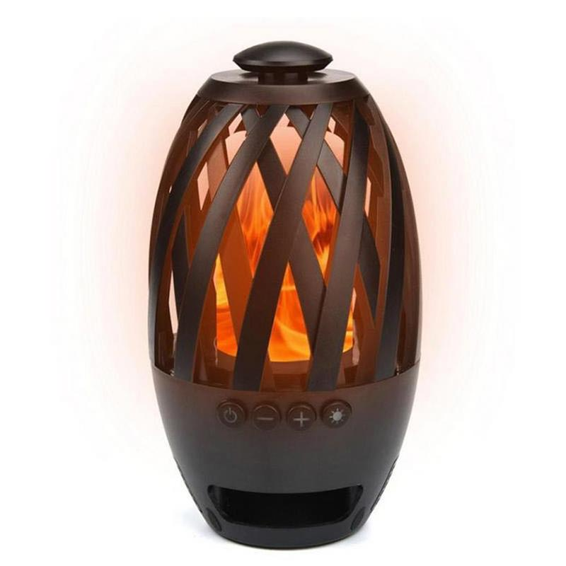 Flame atmosphere light bluetooth speaker outdoor camping bass mini  portable