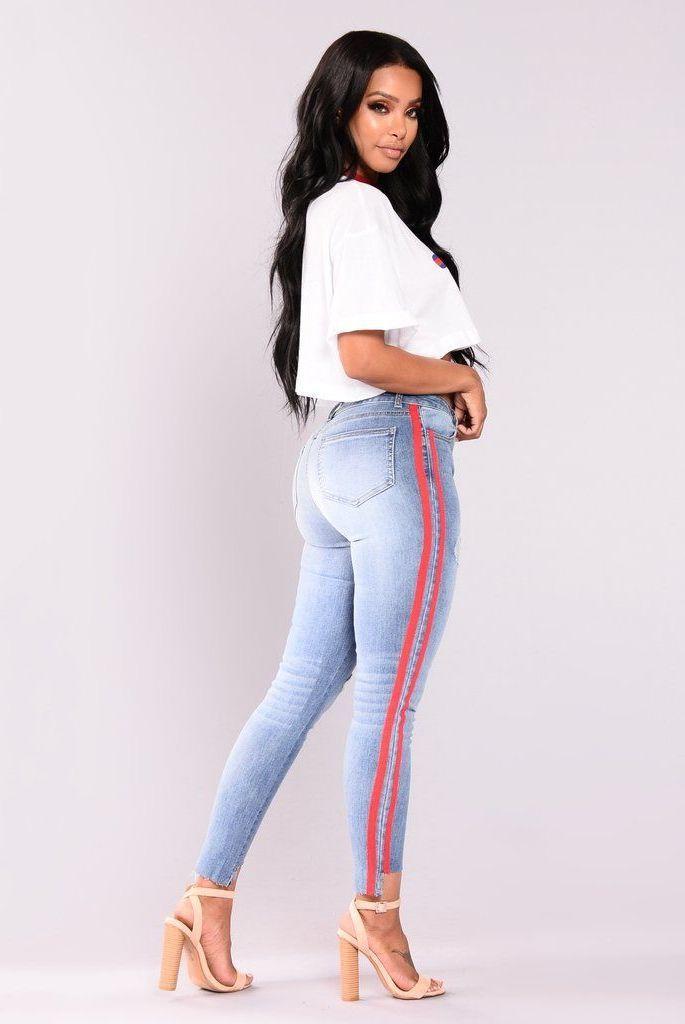 Women Summer High Waist Elastic   Jeans   Skinny Casual Side Band Pencil Denim Pants Fashion Boyfriend   Jeans   for Women G3P9