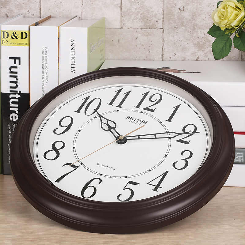 14-inch Simple Circular Wall Clock Silent Quartz living room clock Hourly  Westminster chime & striking Volume control