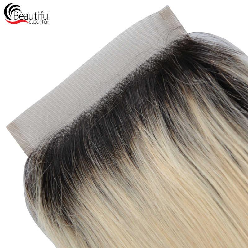 Güzel Kraliçe 5*5 Düz 1B/613 Ücretsiz Bölüm Dantel Kapatma 10A Brezilyalı İnsan Saç Bakire Saç Ağartılmış knot 130 Yoğunluk