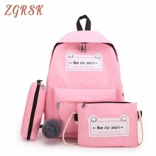 Oxford Set Women Backpack Letter Youth Clear Zipper Fashion Mini Casual Bagpack School Cute Backpacks For Girls Traval