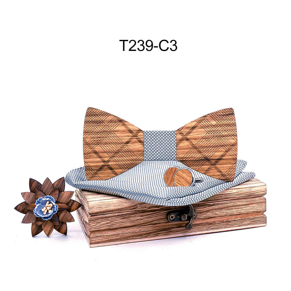 3490b3cfca175 2019 new arrival wholesale sea bream wood bow tie set cufflinks square  scarf male floral pattern