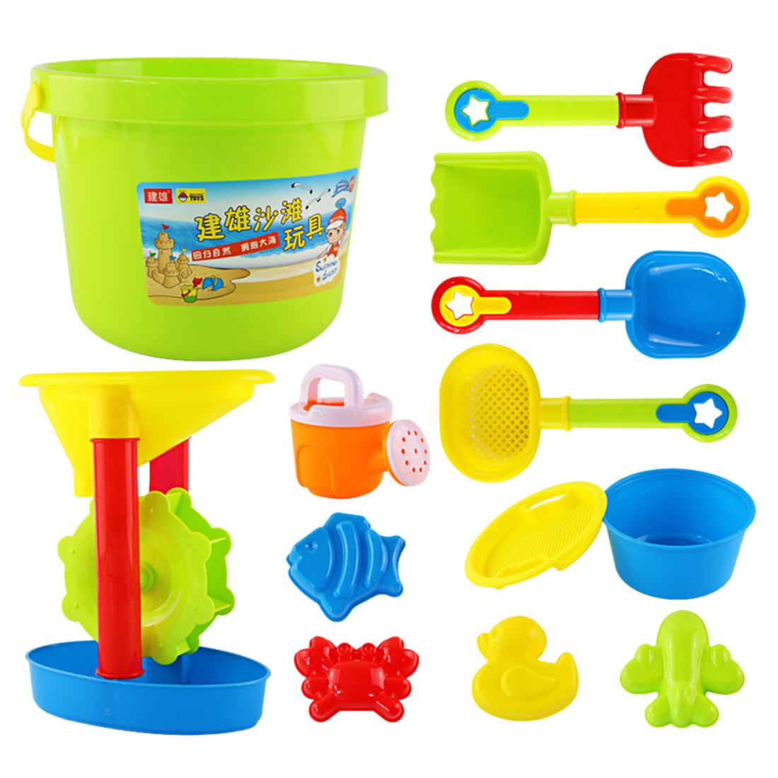 13Pcs Beach Toys Sand Play Mold Kettle Colander Shovel Set Educational Toy With Large Bucket And Hourglass For Children