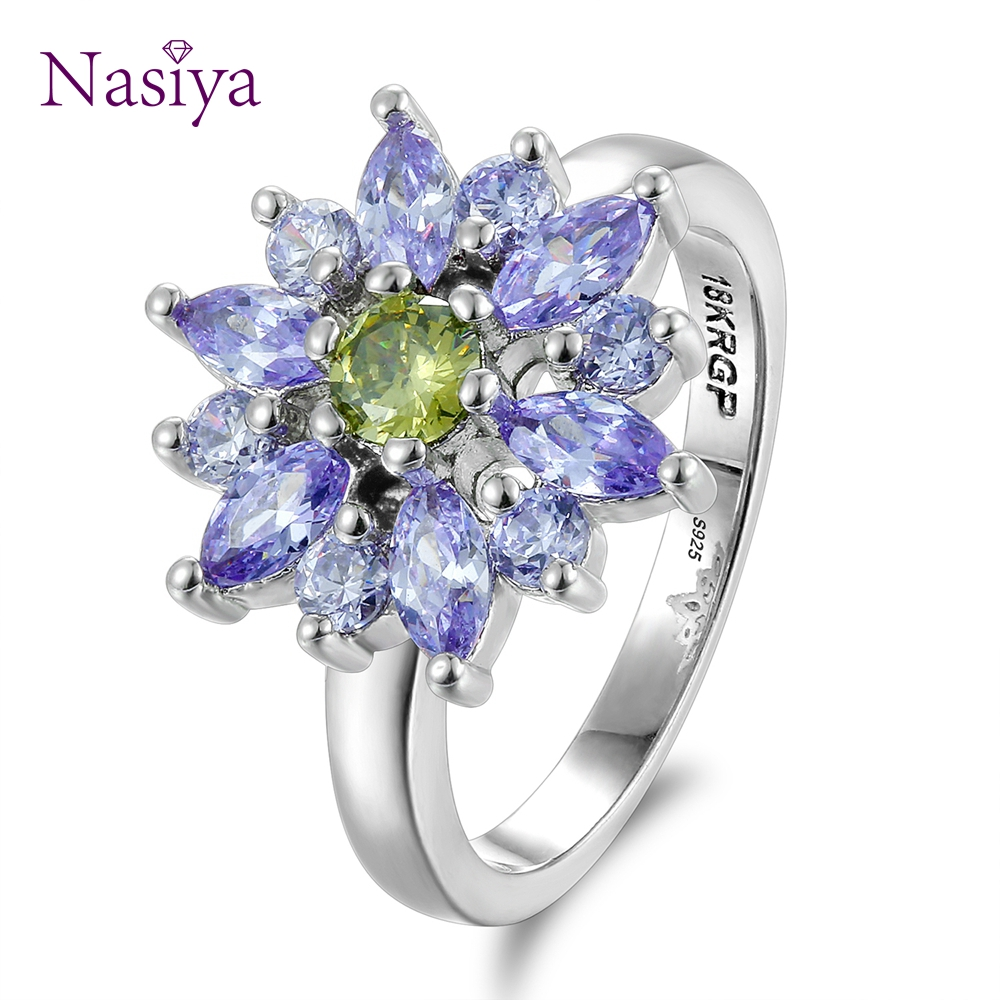 Fashion Jewelry Rings For Women Amethyst Flower Shape 925 Sterling Silver Ring With CZ Stones Wedding Party Gifts Size 6-10