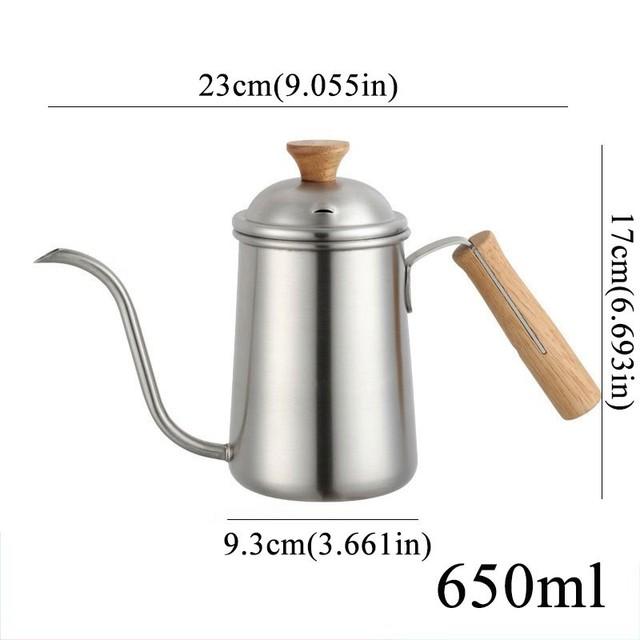 650ml Stainless Steel Coffee Pot Gooseneck Spout Pour Over  Maker Wodden Handle Long Dripper Mouth Kettle Milk Moka Teapot