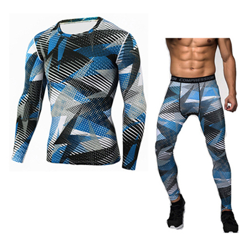 Men Compression Shirt Pants 2pcs/Sets Tracksuit Camouflage Long Sleeve Tshirt Jogger Leggings Mens Gyms Bodybuilding Sportswear