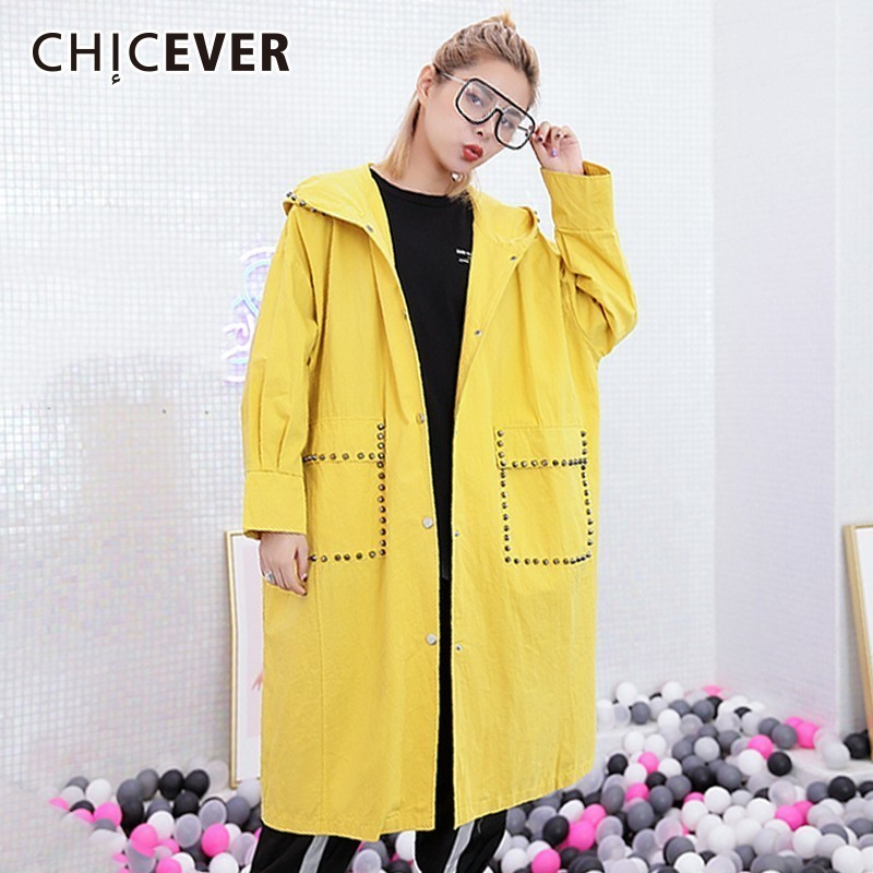 CHICEVER Rivet   Trench   Female Coat Women's Windbreaker Hooded Long Sleeve Single Breasted Loose Windbreakers Autumn Fashion Tide