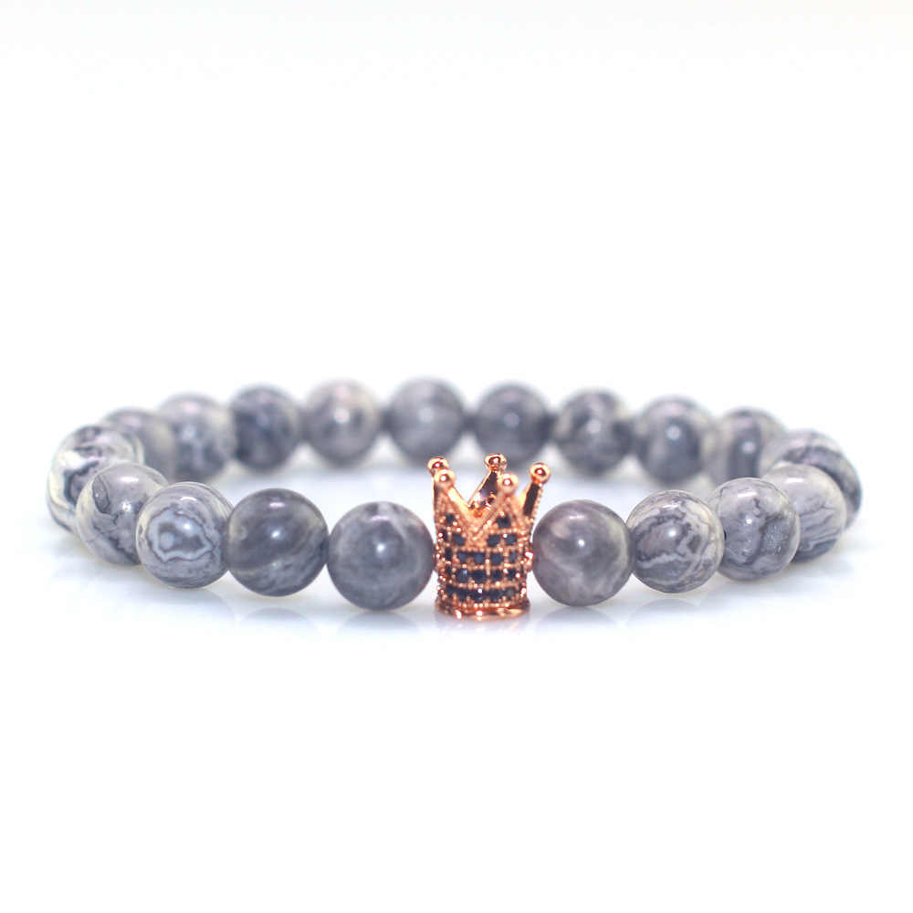 Lapis Lazuli Natural Stone Beads Bracelets for Men Trendy gray  Lucky Stone Beaded Bracelet Handmade CZ Crown  bracelet men