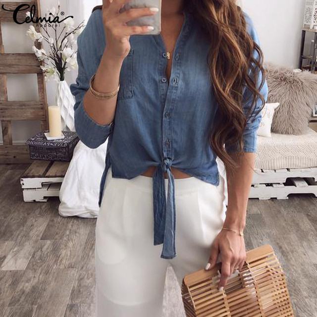 c1e5a8ea838 Celmia Women Denim Blue Blouses Long Sleeve Button Down Shirts Loose Casual  Female Tops 2019 High Low Knotted Blusas Plus Size