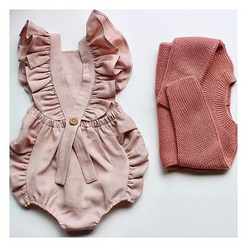 Newborn Baby Girl Ruffled Solid Color Sleeveless Backless Romper Jumpsuit Outfit Sunsuit 1