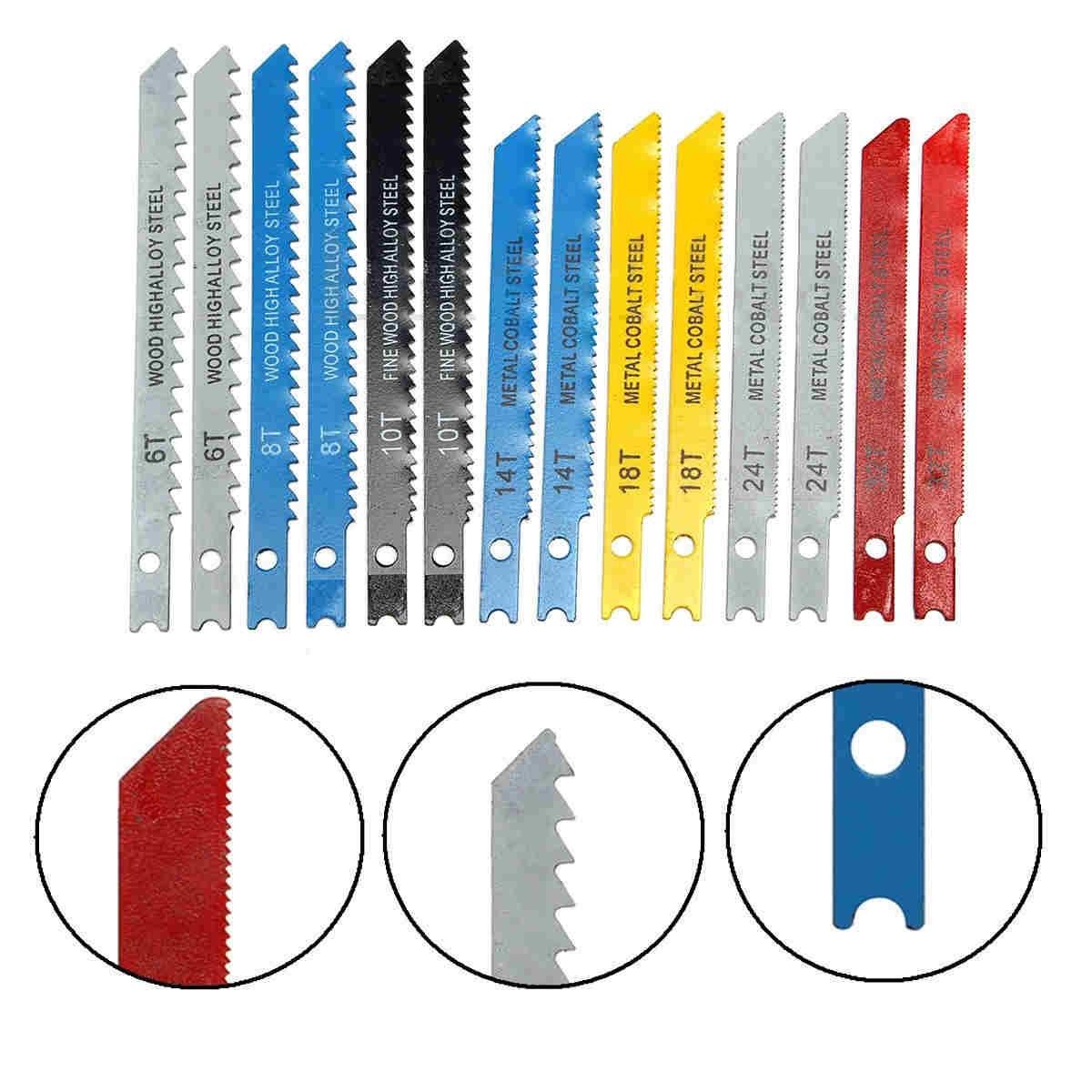 14Pcs Assorted U-shank Jigsaw Blades Metal Plastic Cut Cutting Wood Set
