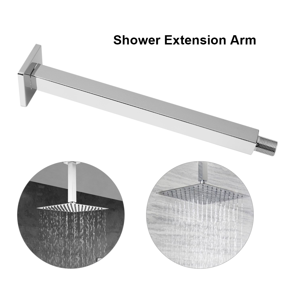 """16/"""" 40cm Stainless Steel Square Rainfall Shower Head Wall Mounted Extension Arm"""