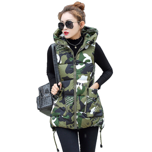 Image 5 - Winter Down Cotton Vest Women Red Gray Green Camouflage Hoodie Feather Waistcoat Long Paragraph Slim Warm Jacket colete feminino