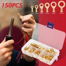 150 шт./компл. золотые клеммы кольцевого типа, золотые латунные неизолированные обжимные клеммы, соединители 3,2 мм-10,2 мм, кабельные разъемы