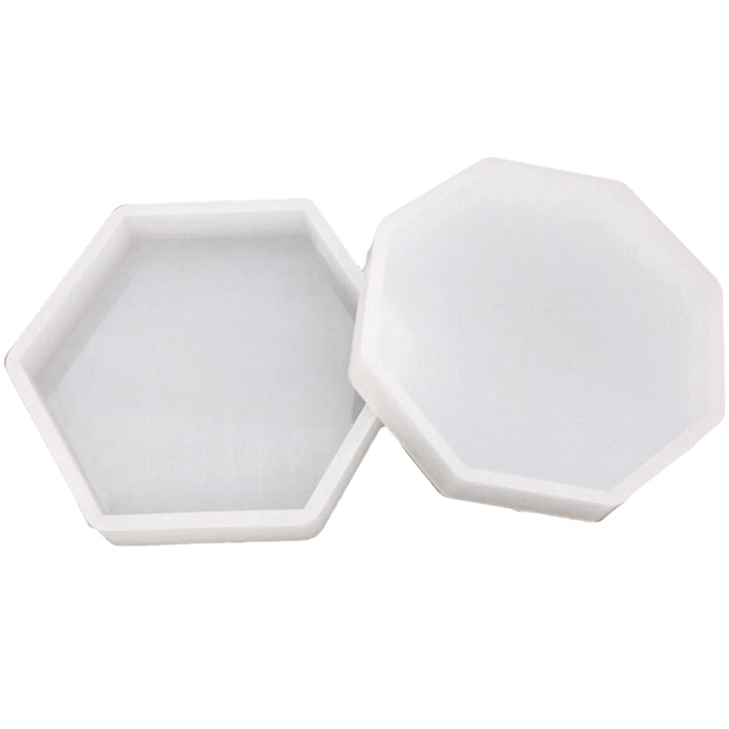 Geometric Design Concrete Coasters Molds Tea Cup Holder Molds Cement Coaster Tray Molds For Plaster Gypsum Base Clay Mold