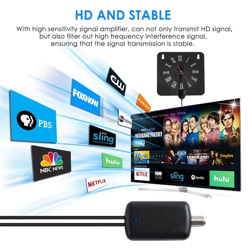Image 5 - 300 Miles Indoor Digital TV Antenna 1080p HD Signal Receiver Amplifier Alarm Clock Style with Signal Amplifier Booster-in TV Antenna from Consumer Electronics