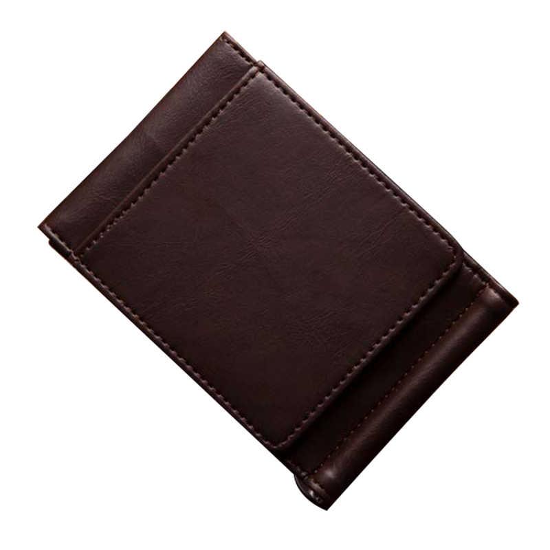 Фото Винтажный Мужской кошелек из искусственной кожи компактный кожаный бумажник