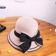 Шляпа соломенная с бантом и лентой для детей взрослых Пляжная