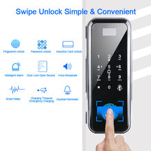 цена на Fingerprint Lock Biometric Fingerprint Door Lock Electric With Touch Keypad Smart Card Remote Control Office Glass Door Lock