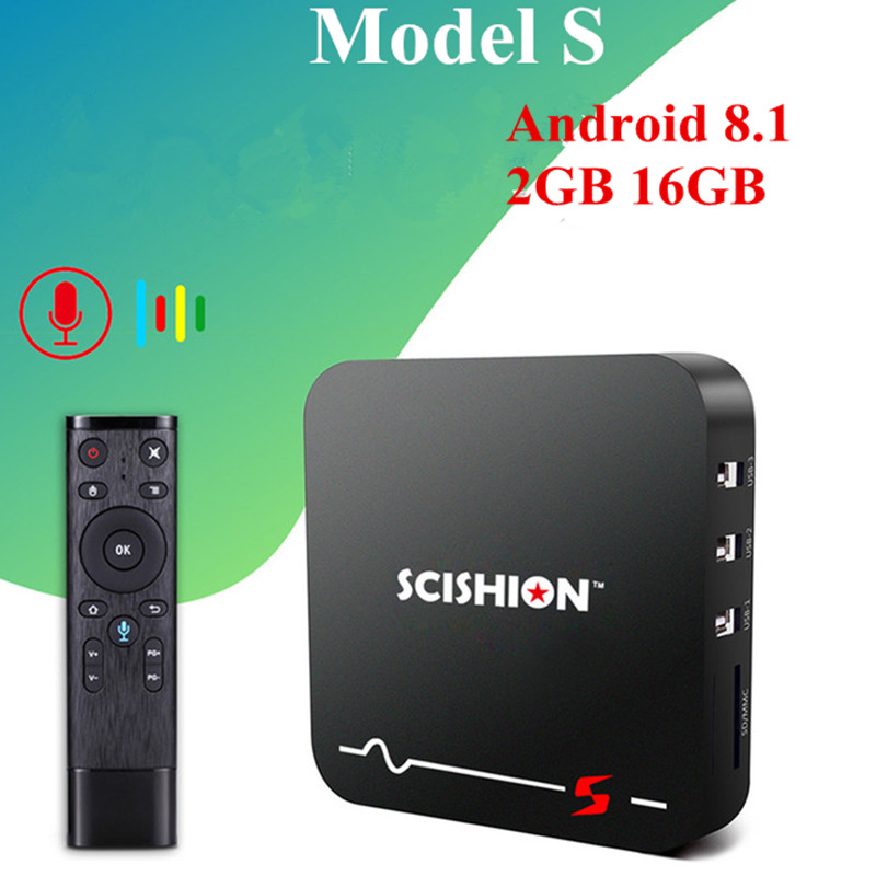 SCISHION Model S Smart TV Box Android 8.1 Set Top Box 2GB/16GB RK3229 2.4G WiFi 100Mbps 4K Media Player With Voice Remote SCISHION Model S Smart TV Box Android 8.1 Set Top Box 2GB/16GB RK3229 2.4G WiFi 100Mbps 4K Media Player With Voice Remote