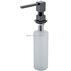 Newly Wholesale Promotion High Quality Square Style Pure Black/Brushed Nickel/Chrome/Gold Solid Brass Kitchen Soap Dispenser(China)