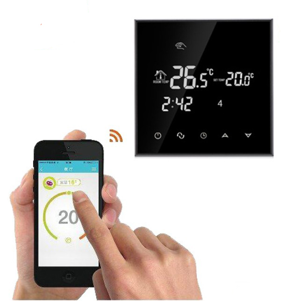 HY03WE 4 Wi Fi 7 Times Programmable Touchscreen Thermostat with Geofencing Room Temperature Automatically Calibration Function
