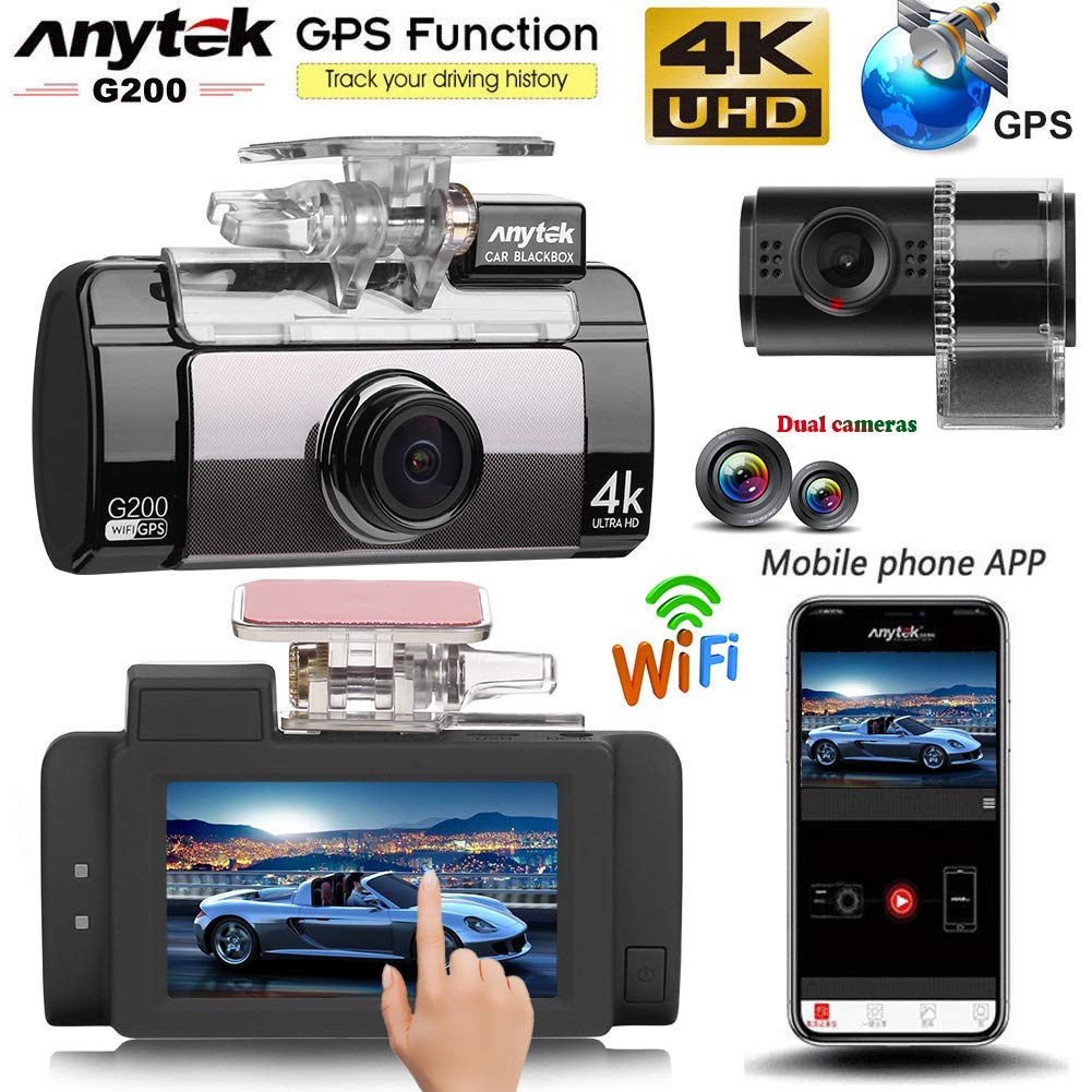 Anytek G200 2.7in Touch Screen Dual Lens 4K UHD WiFi Car DVR Camera 160 degree Wide Angle Dash Cam,G Sensor WDR Loop Recording