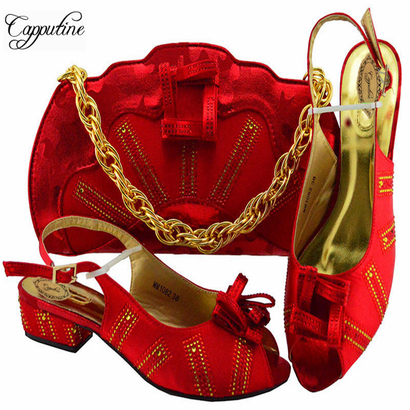 New Year Fashion Italy Woman Red Color Pumps Shoes And Bag Set Summer PU Low Heel