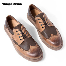 New Spring Casual Shoes Men Genuine Leather Brogue Mixed Colors Wing Tips Retro Oxfords Man Lace Up Leisure