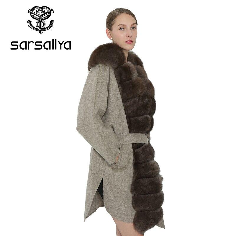 Slim Sarsallya Auto Femme Veste Col Light Grey De Manteau Renard Chaud Femmes Dames Pour Ceinture Fourrure Pardessus Vêtement Mode Hiver arEPrZA