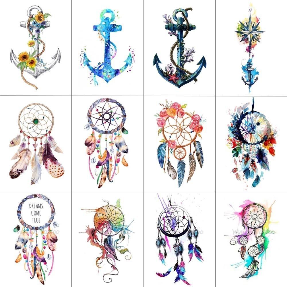 HXMAN 12 PCS/lot Dreamcatcher Anchor Temporary Tattoo Sticker For Women Men Body Art Waterproof Hand Fake Tatoo 9.8X6cm W12-10