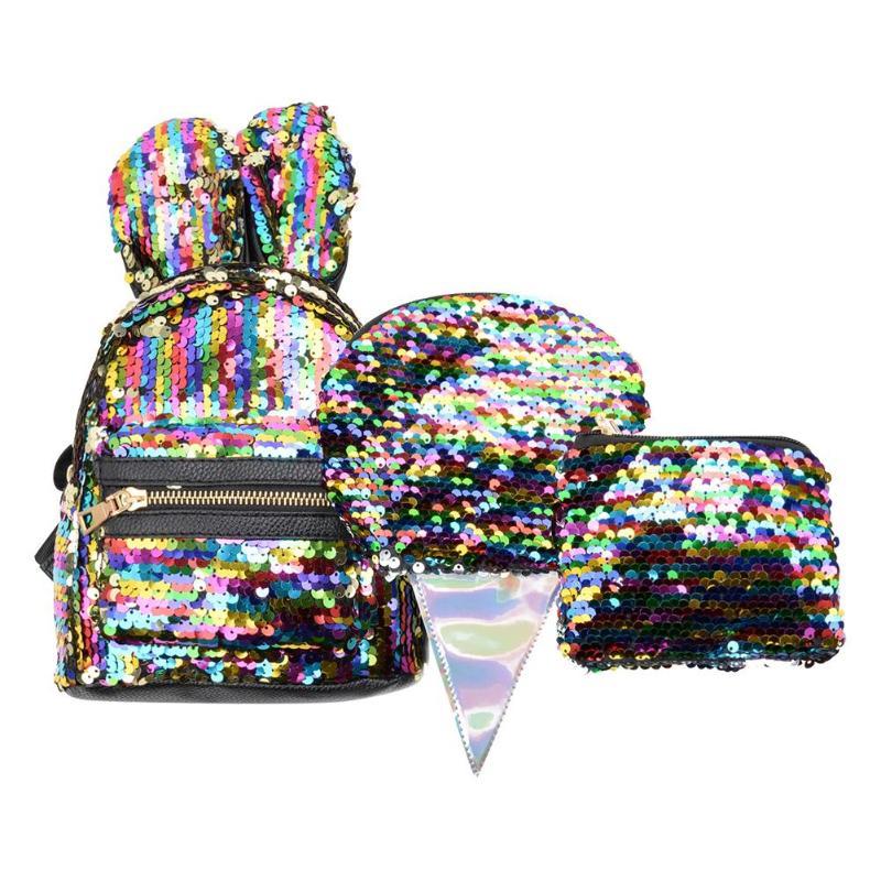 3pcs/setwomen Sequins Backpack Cute Rabbit Ears Double Shoulder Bag Mini Backpacks Teenager Girl Shoulder Bags Travel Knapsack Backpacks