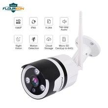 1 шт. Беспроводной 1080P Wi-Fi IP Камера безопасности Системы видеонаблюдения 2-полосная Аудио Обнаружение движения Memroy TF карты пуля Камера
