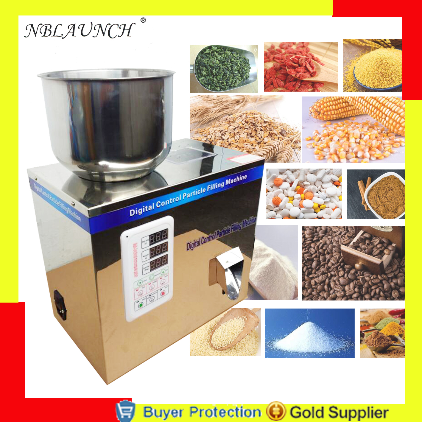 Automatic scale herb filling and weighing machine tea leaf powder grain,medicine,seed,salt rice packing machine powder filler computer intelligence racking machine