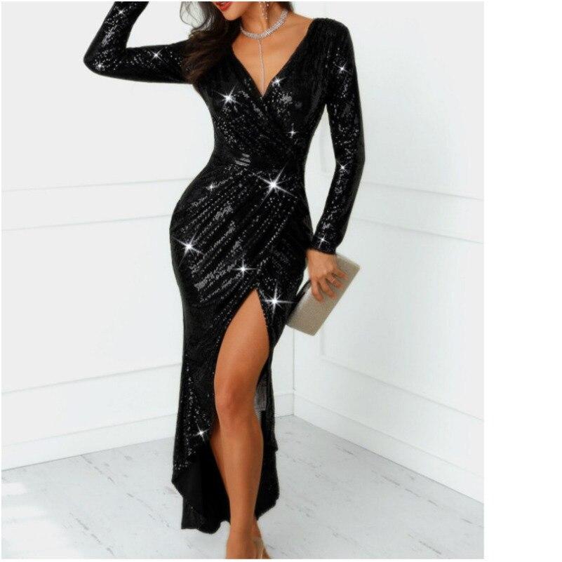 MUXU fashion black sequin dresses frocks woman elegant evening party sexy  vestidos clothes dresses robe femme 373a638db349