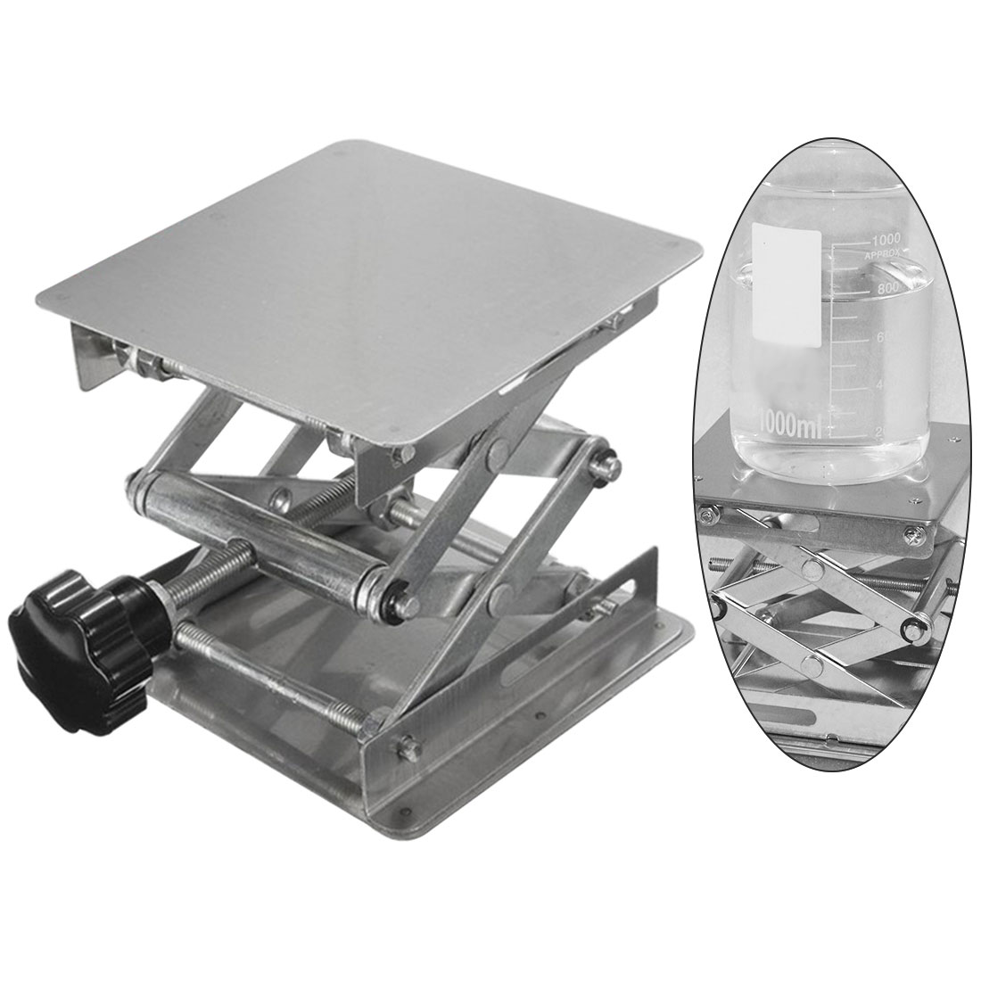 Stainless Steel Router Lift Table Woodworking Engraving Lab Lifting Stand Rack Lift Platform100x100mm
