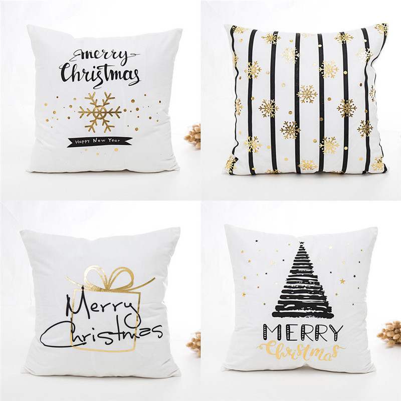 US $2.69 16% OFF|Christmas Gold Bronzing Snowflake Throw Pillow Case Hot  Sale Happy New Year Letter Printed Cushion Cover Sofa Car Cushion Cover-in  ...
