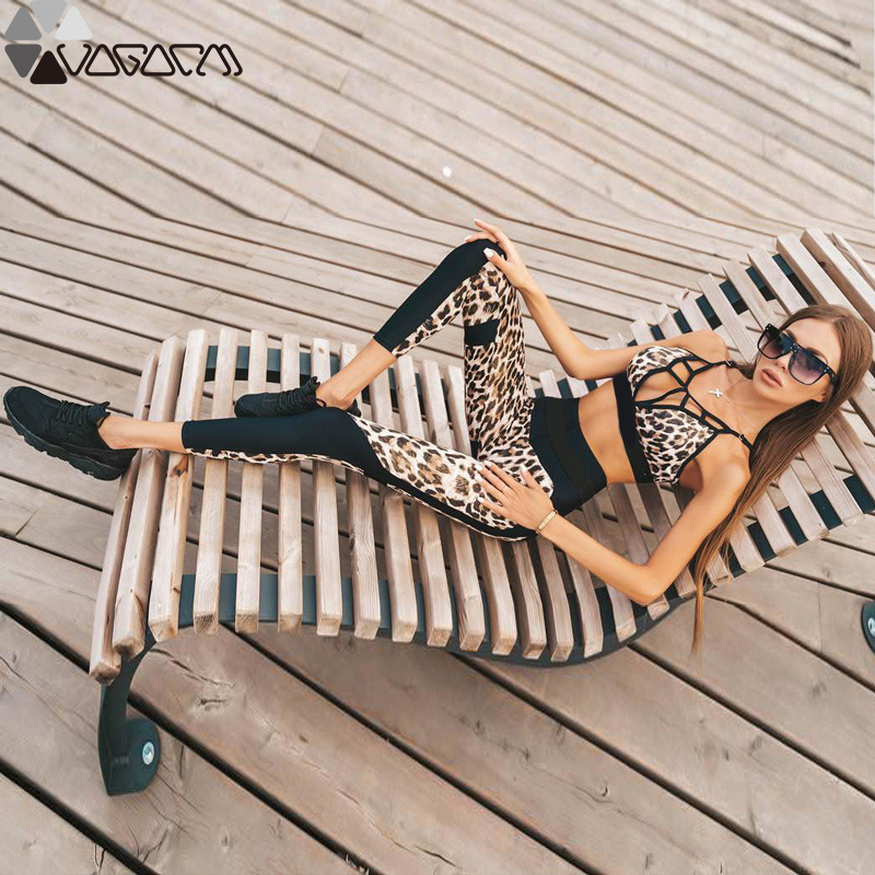 2019 Women Leopard Sportwear Gym Yoga Suit Breathable Sleeveless Fitness Fashion Sexy Running Workout Mujer Yoga Set Gym Clothes in Yoga Sets from Sports Entertainment