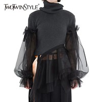 TWOTWINSTYLE Patchwork Sweater Women Turtleneck Puff Long Sleeve Ruffle Hem Knitting Pullover Tops Female 2019 Spring Korean New