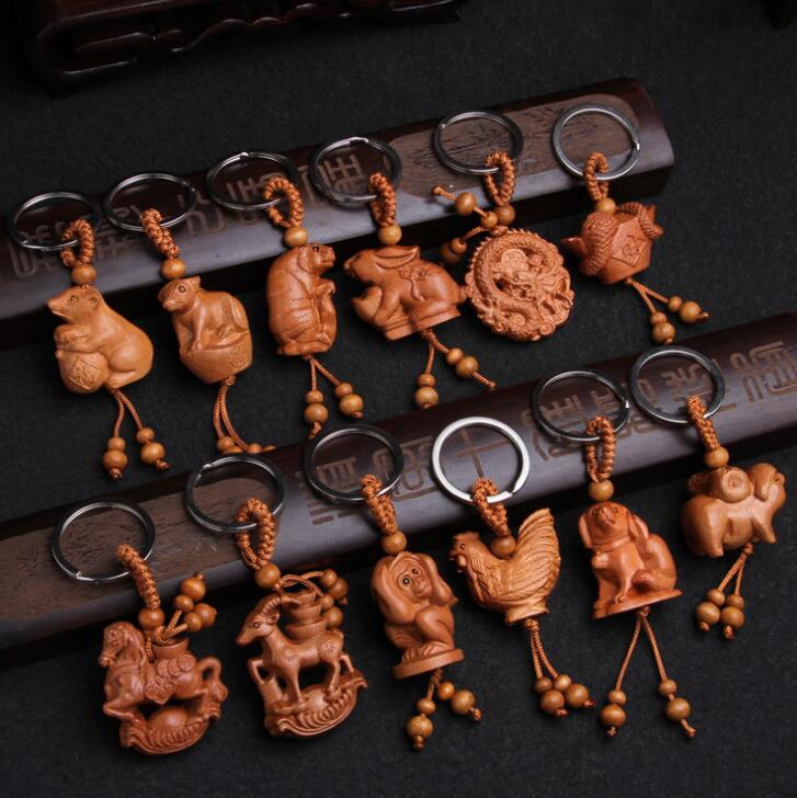 Chinese Peach Wood Carved Twelve Zodiac Animals Exquisite Car Key Chain Pendant
