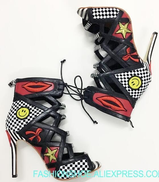 2019 Newest Polka Dots Stiletto Boots Women Lace Up Ankle Boot Hot Mixed Colors Badge Club Shoes Ladies Peep Toe High Heel Boots