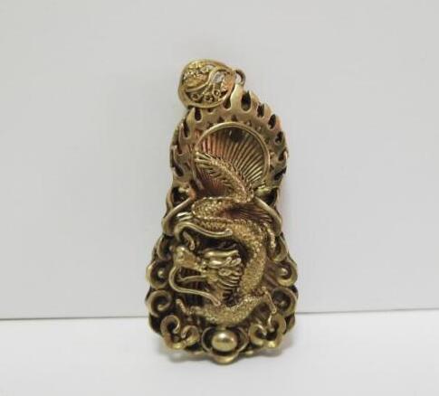 China Pure Brass Copper Animal Dragon Statue Small Pendant