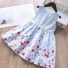 Детское летнее Хлопковое платье для девочек, с цветочным принтом